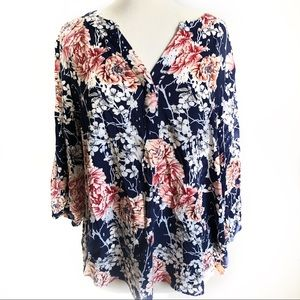 Navy Floral 3/4 Sleeve Blouse 1X Soiree